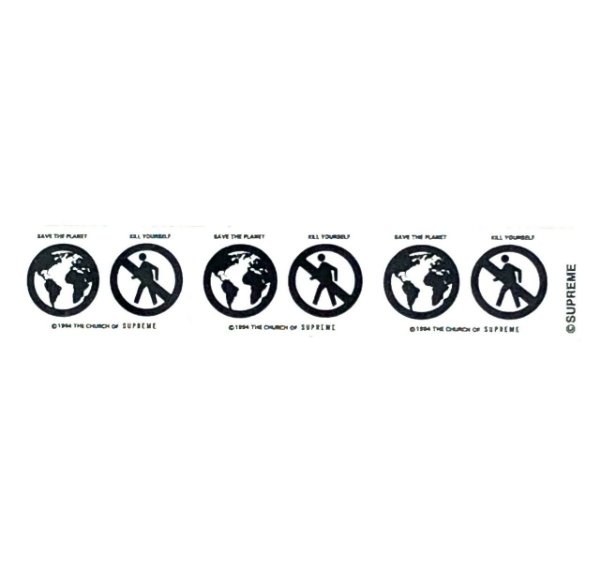 """SUPREME - Adesivo FW19 Save The Planet Mini """"Branco"""" -NOVO-"""