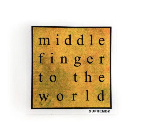"SUPREME - Adesivo SS19 Middle Finger To The World ""Amarelo"" -NOVO-"