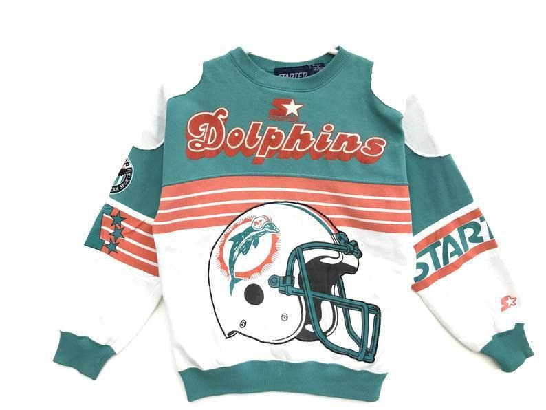 "STARTER - Moletom Crewneck Miami Dolphins NFL Vintage 80's ""Verde"" -USADO-"