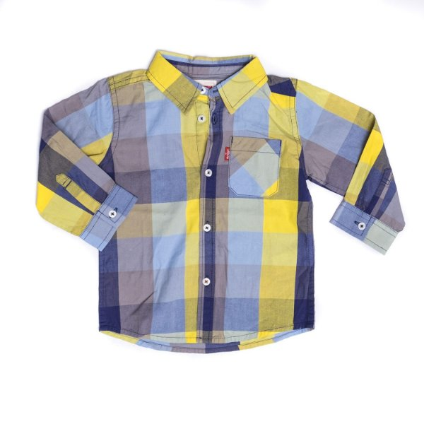 "LEVI'S - Camisa Xadrez Manga Longa ""Azul/Amarelo"" (Infantil) -NOVO-"