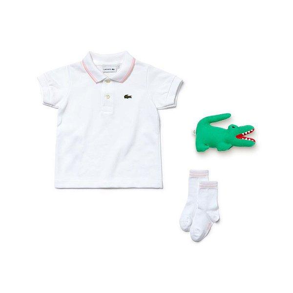 "LACOSTE - Kit Camisa Polo + Meia + Pelúcia ""Branco"" (Infantil) -NOVO-"