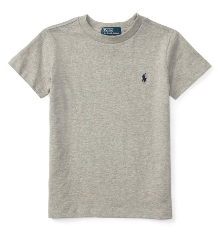 "POLO RALPH LAUREN - Camiseta Jersey Crewneck Juvenil ""Cinza"" (Infantil) -NOVO-"