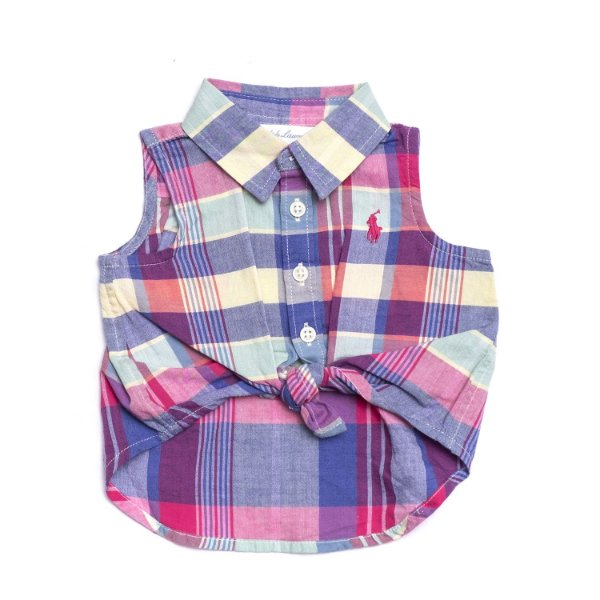 "POLO RALPH LAUREN - Camisa Regata Xadrez ""Rosa/Azul"" (Infantil) -NOVO-"