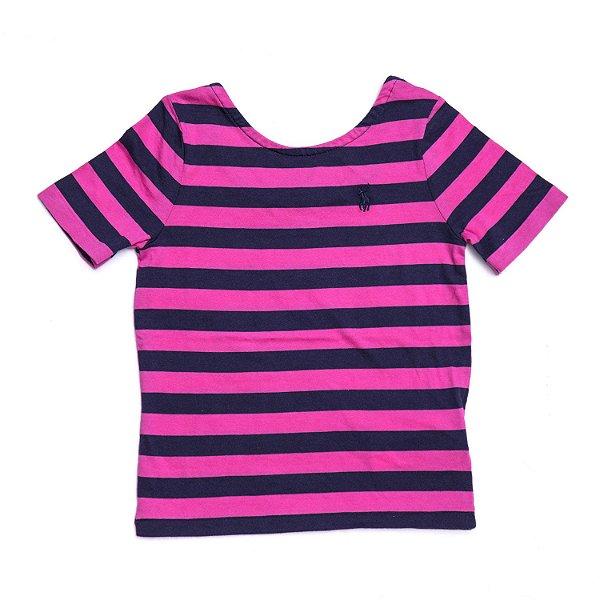 """POLO RALPH LAUREN - Camiseta Stripe """"Rosa"""" (Infantil) -NOVO-"""