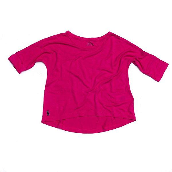 "POLO RALPH LAUREN - Camiseta Meia Manga ""Rosa"" (Infantil) -NOVO-"
