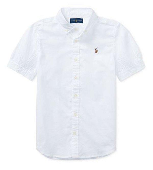 "POLO RALPH LAUREN - Camisa Cotton Oxford Girls ""Branco"" (Infantil) -NOVO-"