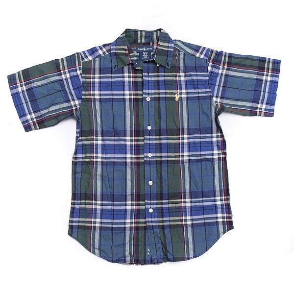 "POLO RALPH LAUREN - Camisa Cotton Madras ""Verde"" (Infantil) -NOVO-"