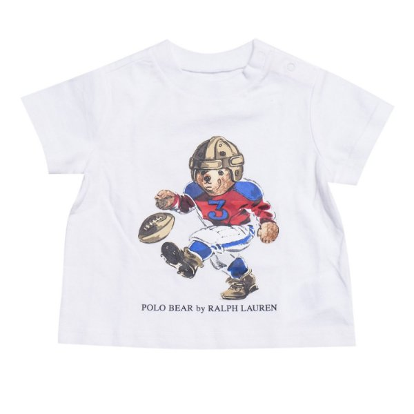 "POLO RALPH LAUREN - Camiseta Polo Bear Football Baby ""Branco"" (Infantil) -NOVO-"
