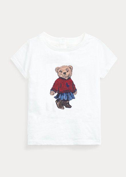"""POLO RALPH LAUREN - Camiseta Polo Bear Skirt Baby """"Branco"""" (Infantil) -NOVO-"""
