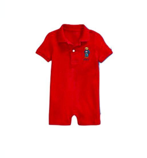 """POLO RALPH LAUREN - Macacão Polo Bear Cotton Baby """"Vermelho"""" (Infantil) -NOVO-"""