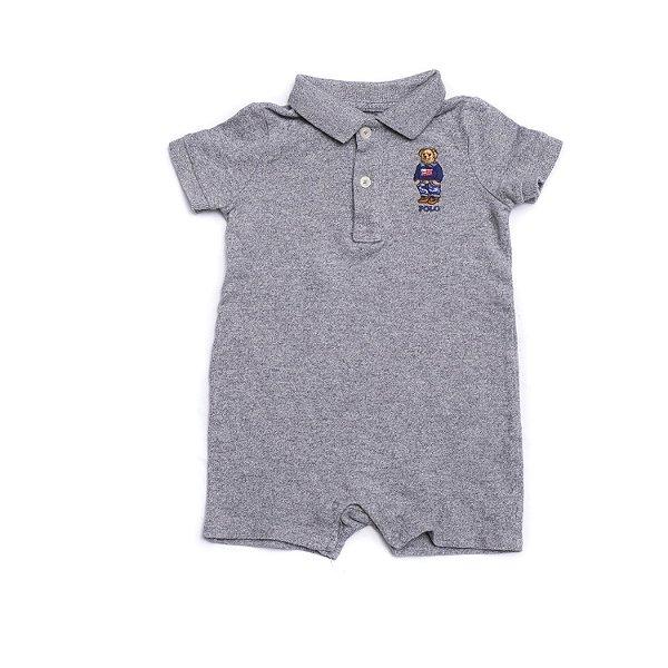 """POLO RALPH LAUREN - Macacão Polo Bear Cotton Baby """"Cinza"""" (Infantil) -NOVO-"""