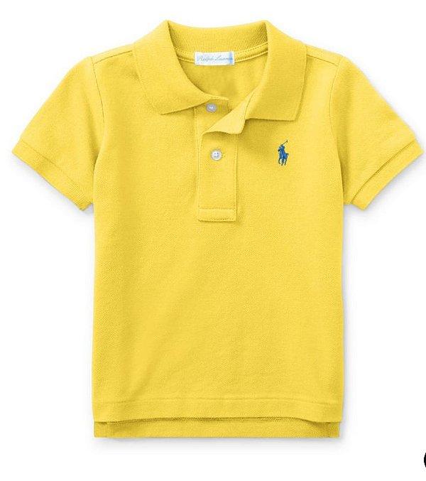 "POLO RALPH LAUREN - Camisa Polo Cotton Mesh Kids ""Amarelo"" (Infantil) -NOVO-"