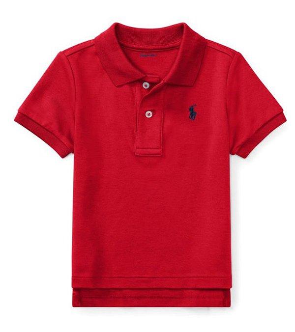 "POLO RALPH LAUREN - Camisa Polo Cotton Mesh Baby ""Vermelho"" (Infantil) -NOVO-"
