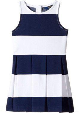 "POLO RALPH LAUREN - Vestido Striped Stretch Jersey ""Azul Marinho"" (Infantil) -NOVO-"