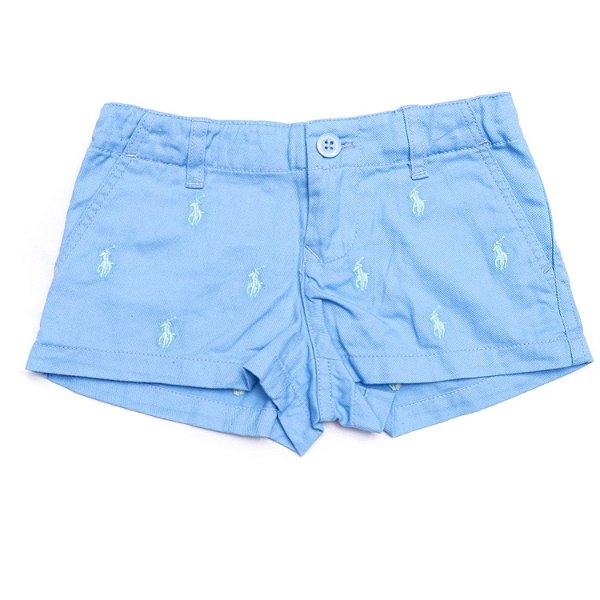 "POLO RALPH LAUREN - Shorts Chino Monogram Pony ""Azul Claro"" (Infantil) -NOVO-"