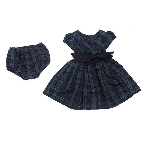 """POLO RALPH LAUREN - Vestido Plaid & Bloomer Baby """"Verde"""" (Infantil) -NOVO-"""