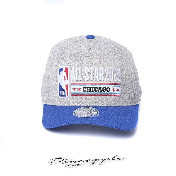 """MITCHELL & NESS - Boné NBA All Star 2020 Chicago 110 Flexfit Snapback """"Cinza/Azul"""" -NOVO-"""