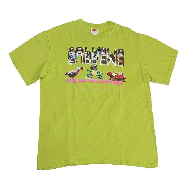 """SUPREME - Camiseta Friends """"Verde Limão"""" -USADO-"""