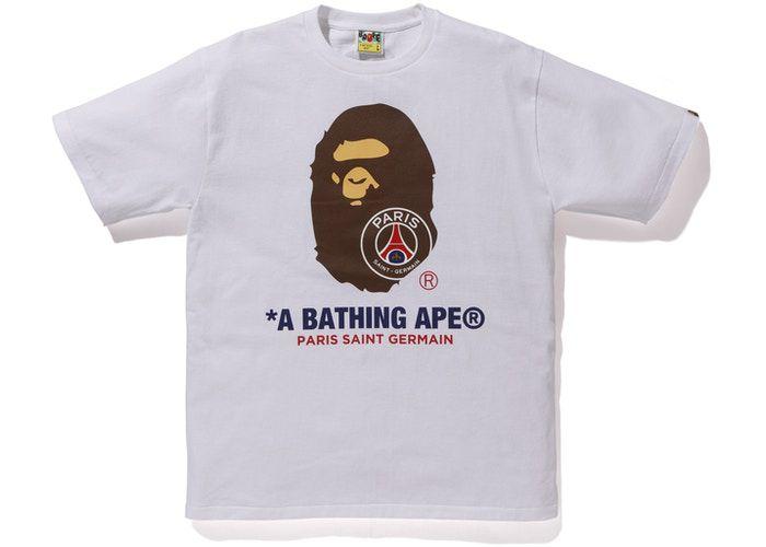 "BAPE x PSG - Camiseta Ape Head ""Branco"" -NOVO-"