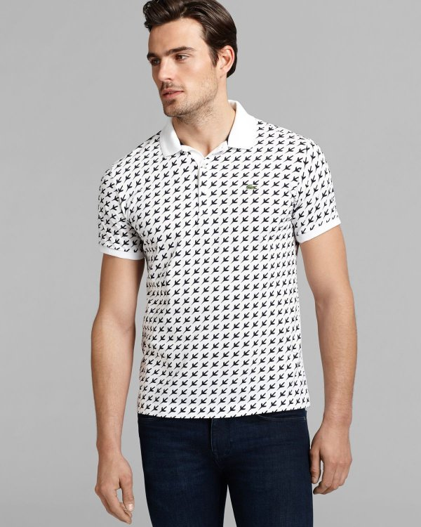 "LACOSTE - Camisa Polo Slim Fit Airplane Print ""Branco"" -NOVO-"