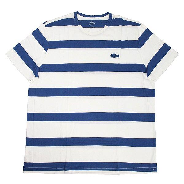 "LACOSTE - Camiseta Stripes ""Branco/Azul"" -NOVO-"