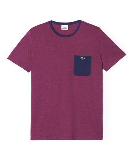 "LACOSTE - Camiseta Regular Fit Pocket ""Bordô/Marinho"" -NOVO-"