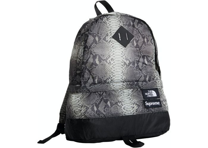 "SUPREME x THE NORTH FACE - Mochila Snakeskin Lightweight Day ""Preto"" -NOVO-"