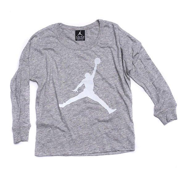 "NIKE - Camiseta Manga Longa Air Jordan ""Cinza"" (Infantil) -NOVO-"