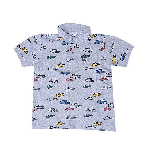 """LACOSTE - Camisa Polo Croco """"Cinza"""" (Infantil) -USADO-"""