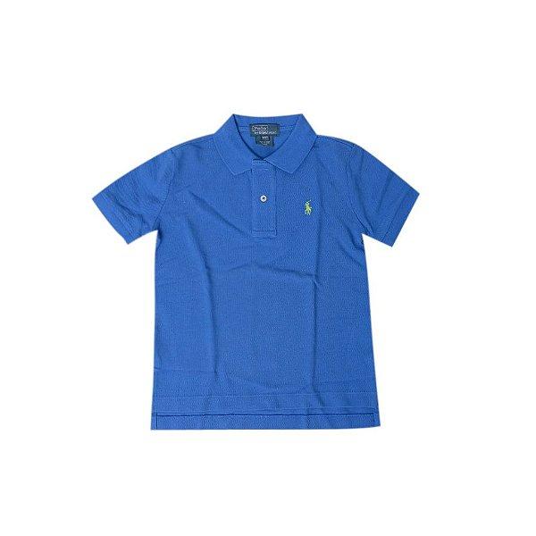 """POLO RALPH LAUREN - Camisa Polo """"Azul"""" (Infantil) -USADO-"""