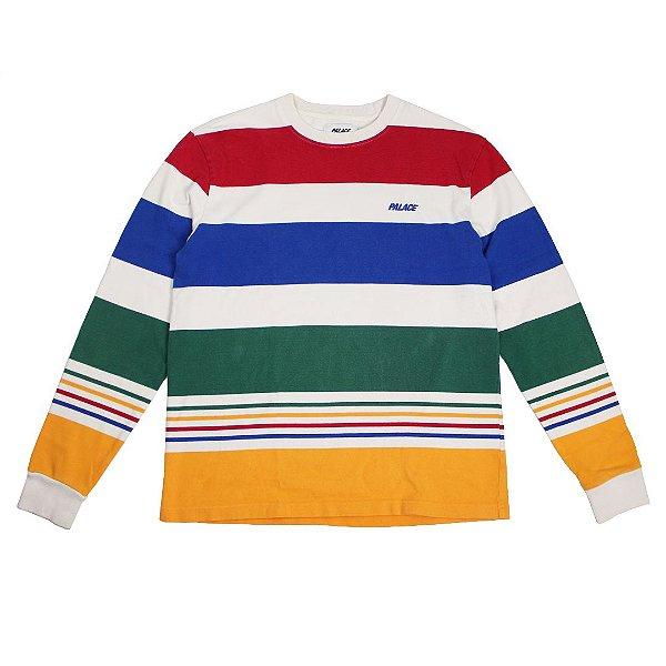 """PALACE - Camiseta Manga Longa Henvy Stripe """"Branco/Multicolor"""" -USADO-"""