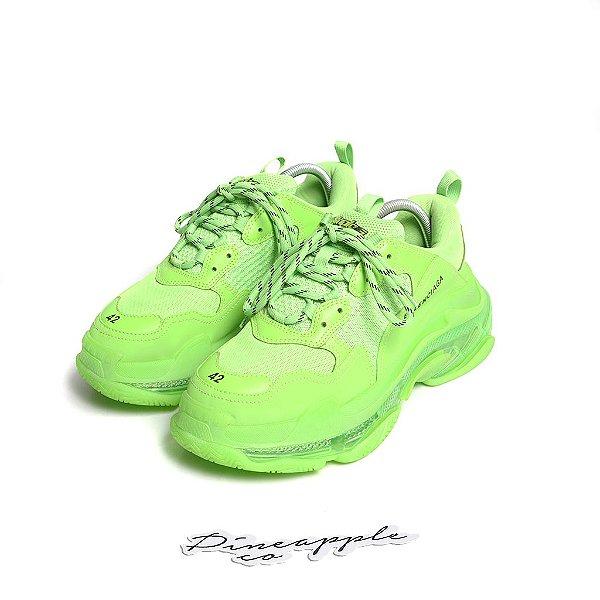 """BALENCIAGA - Triple S Clear Sole """"Neon Green"""" -USADO-"""