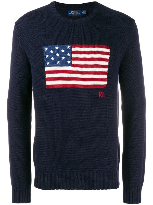 "POLO RALPH LAUREN - Sweater USA Flag ""Marinho"" -NOVO-"