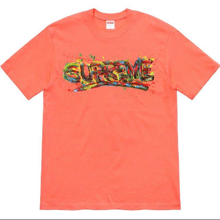 "SUPREME - Camiseta Paint Logo ""Coral"" -NOVO-"