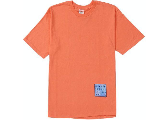 "SUPREME - Camiseta Middle Finger To The World ""Coral"" -NOVO-"