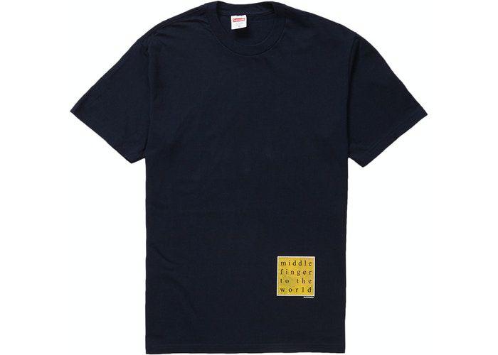 """SUPREME - Camiseta Middle Finger To The World """"Marinho"""" -NOVO-"""