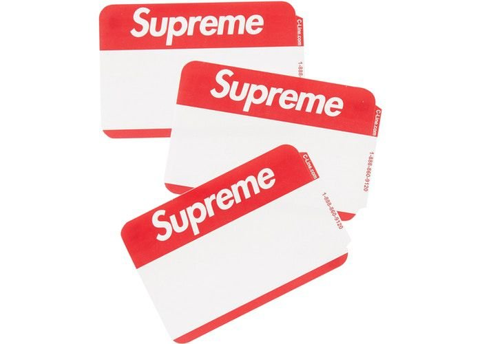 """SUPREME - Adesivo Name Badge (Pack com 100 adesivos) """"Vermelho"""" -NOVO-"""