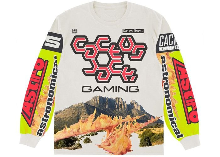 """TRAVIS SCOTT - Camiseta Manga Longa The Scotts Gaming II """"Branco/Verde Neon"""" -NOVO-"""