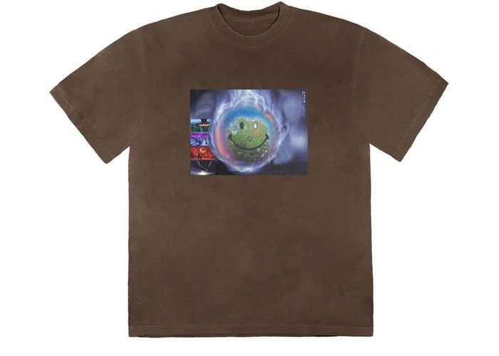 "TRAVIS SCOTT - Camiseta World Event ""Marrom"" -NOVO-"