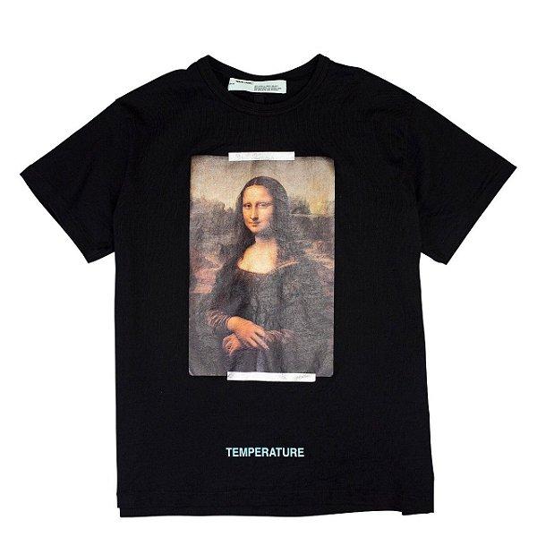 "OFF-WHITE - Camiseta Mona Lisa Temperature ""Preto"" -USADO-"