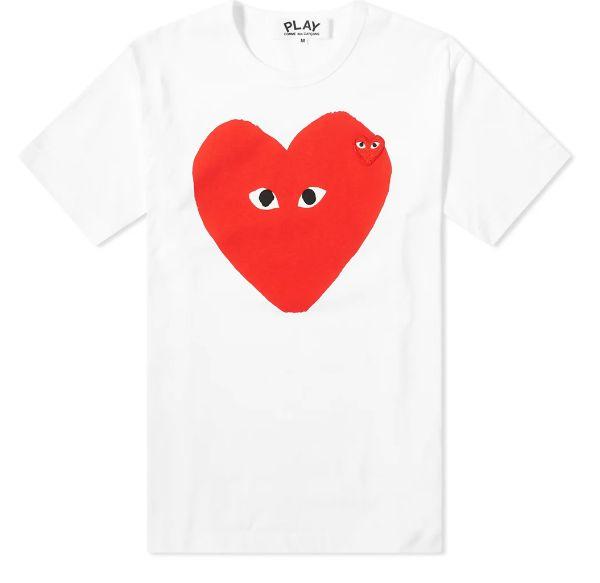 "!COMME DES GARÇONS - Camiseta Play Big Red Heart Logo ""Branco"" -NOVO-"