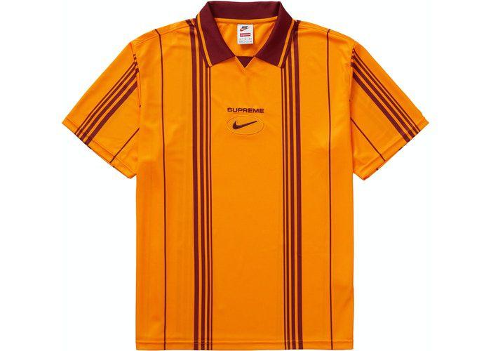 "NIKE x SUPREME - Camisa Polo Soccer Jewel Stripe ""Laranja"" -NOVO-"