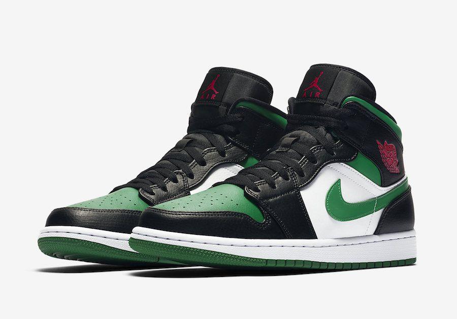"""NIKE - Air Jordan 1 Mid """"Green Toe"""" -NOVO-"""