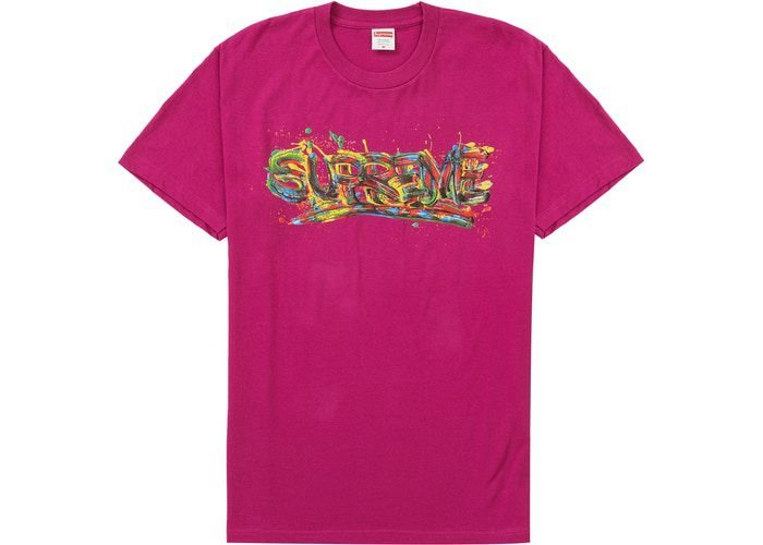 "SUPREME - Camiseta Paint Logo ""Magenta"" -NOVO-"