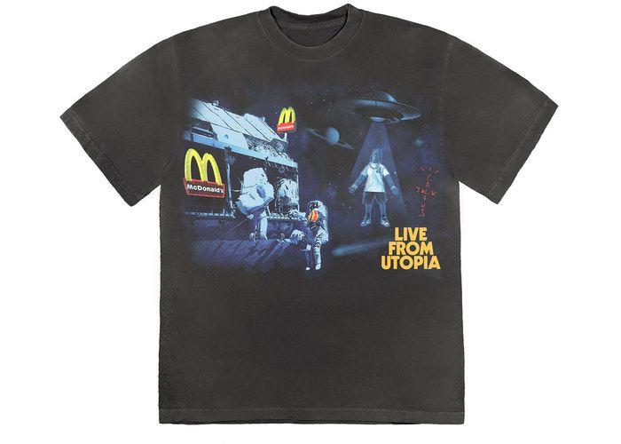 """TRAVIS SCOTT x MCDONALD'S - Camiseta Live From Utopia """"Grafite"""" -NOVO-"""