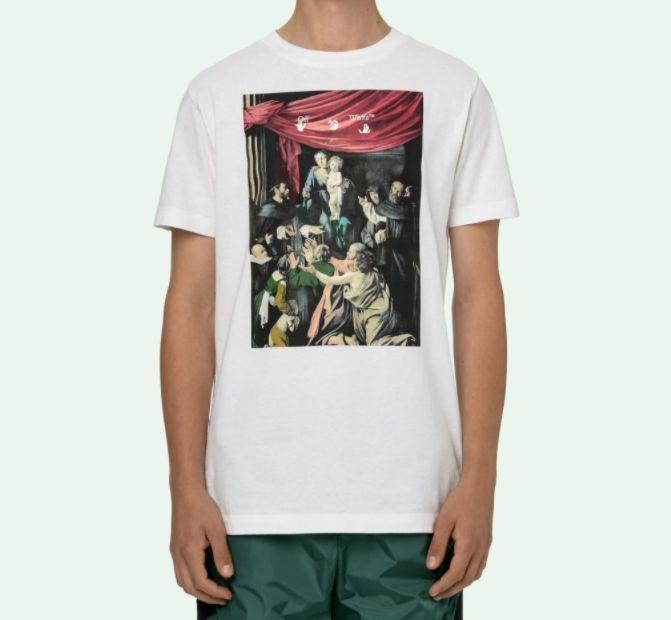 "!OFF-WHITE - Camiseta Caravaggio Painting Slim ""Branco"" -NOVO-"