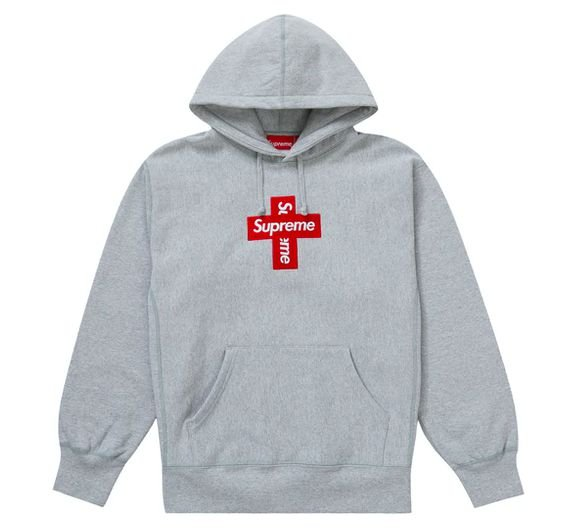 "SUPREME - Moletom Box Logo Cross ""Cinza"" -NOVO-"