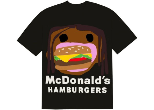 "TRAVIS SCOTT x CPFM - Camiseta 4 CJ Burger Mouth ""Preto"" -NOVO-"