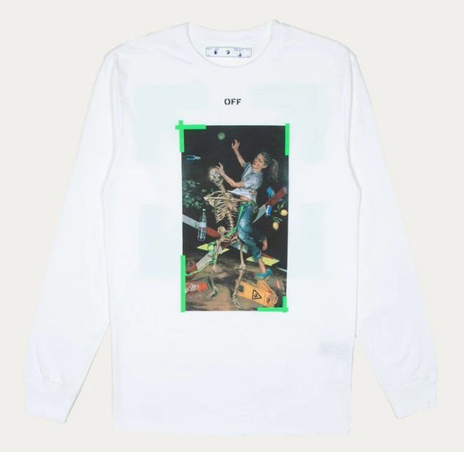 "OFF-WHITE - Camiseta Manga Longa Pascal Print  ""Branco"" -NOVO-"