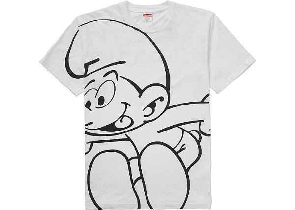 "SUPREME - Camiseta Smurfs ""Branco"" -NOVO-"